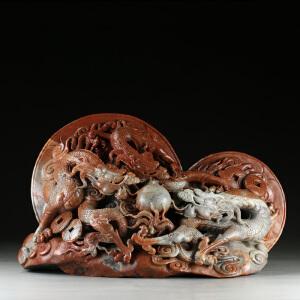 寿山巧色老岭石 精雕三龙戏珠大材摆件 jd2644