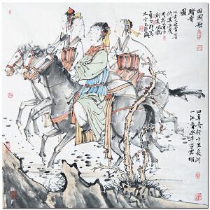 中国美术家协会会员唐勇力《田园歌踏青图》
