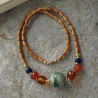 【只有一个】清代老翡翠圆珠切面老琥珀珠配橄榄核珠项链