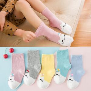 春夏季儿童袜子糖果色可爱卡通猫咪袜中筒学生袜时尚薄款5条礼盒装