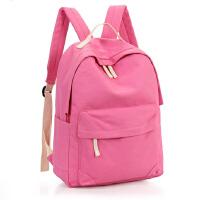 帆布双肩包2新款韩版学生书包简约旅行背包
