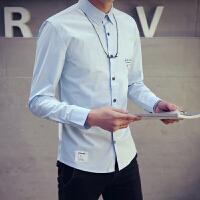 春季男士长袖商务 打底白衬衫纯色韩版修身衬衣青年男装