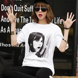 2017夏季新款头像印花短袖棉T恤韩版女装BB17512