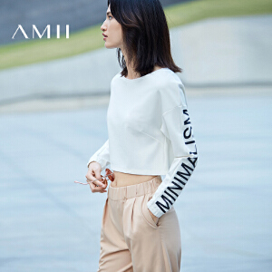 【预售】Amii 2017春新短款大圆领落肩宽松印花长袖T恤11770272