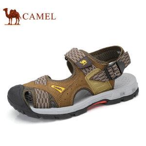 camel骆驼男鞋 2017夏季新品 户外休闲透气沙滩鞋户外露趾皮凉鞋