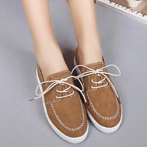 妃枫霏春季新款休闲鞋简约系带小白鞋平底优雅学生鞋板鞋
