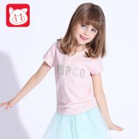 小猪班纳童装2017夏装新款女童刺绣字母短袖T恤中大童夏装上衣短T