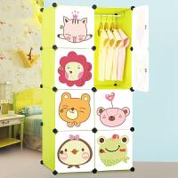 御目 简易衣柜 儿童现代经济型衣柜卡通组装组合折叠塑料布艺钢架宝宝衣橱柜子收纳柜储物柜衣橱 创意家具