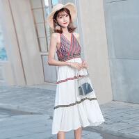 茉蒂菲莉 连衣裙 女式新款纯色镂空女装蕾丝流苏宽松吊带裙子2017春夏韩版两件女士服装套装
