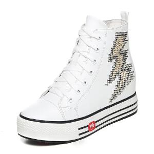 milkroses 时尚个性铆钉闪电图案牛纹高帮鞋