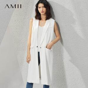 【预售】Amii[极简主义]2017春新女大码通勤无袖风琴褶配腰带马夹