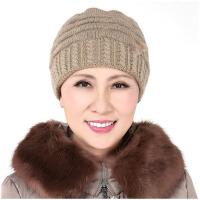 中老年女帽冬季 盆帽妈妈帽中年女帽子针织帽老太太毛线帽