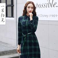 一米阳光2017春款韩版格子衬衫女中长款宽松衬衫百搭连衣裙