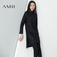 【AMII超级大牌日】[极简主义]2016冬半高领直筒开衩羊毛混纺毛呢连衣裙11694070