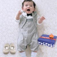 货到付款 Yinbeler男婴儿连体衣长袖绅士小西装哈衣蝴蝶结6-12月男宝宝马甲连身衣袜子礼盒套装