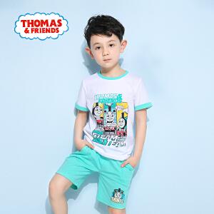 [满200减100]托马斯童装正版授权男童夏装时尚印花纯棉短袖短裤套装