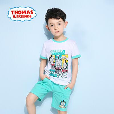 托马斯童装正版授权男童夏装新品时尚印花纯棉短袖短裤套装