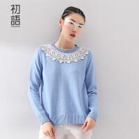 初语冬季新品 简约蕾丝拼接点缀宽松针织毛衣女8530323036