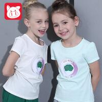 小猪班纳童装女童夏装 上衣中大童短袖T恤儿童半袖圆领针织衫