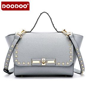 【支持礼品卡】DOODOO 2017新款包包女包欧美复古铆钉定型时尚手拎包单肩斜跨女式小包 D4017