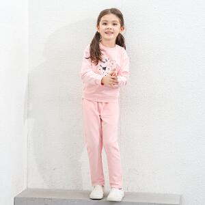 amii童装2017春装新款女童套装休闲儿童趣味卡通运动两件套