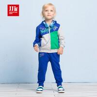 季季乐男童2017秋季新款纯棉时尚拼接运动中小童休闲外套长裤套装