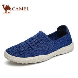 camel骆驼男鞋 2017夏季新品套脚乐福鞋 轻质舒适透气时尚编织鞋