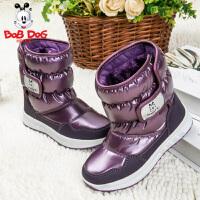 bobdog儿童雪地棉靴童鞋女童靴子男童防水防滑加厚加绒保暖童鞋
