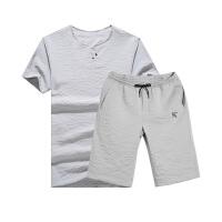 夏季青少年短袖T恤男士休闲男装学生V立领半袖上衣和短裤运动套装MT2131