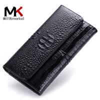 莫尔克(MERKEL)欧美女士再生皮牛皮长款钱包鳄鱼纹新款女两折时尚钱夹手拿包