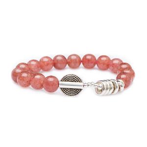 芭法娜 铃悦朦胧 天然草莓晶10mm时尚单圈手链