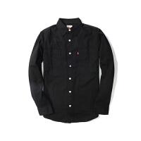 Levi's /李维斯男士休闲衬衫四季常规纯黑色百搭长袖衬衣