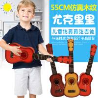 【满200-100】六美 儿童音乐吉他仿真尤克里里可弹奏益智乐器电子琴宝宝早教玩具送背带*1+教程*1