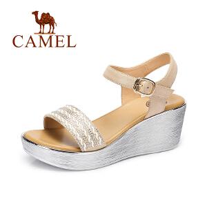 Camel/骆驼女鞋 2017夏季新款 时尚水钻坡跟凉鞋 防水台高跟凉鞋