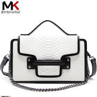 莫尔克(MERKEL)克拉恋人高文同款女包新款时尚撞色蛇纹单肩斜挎包小方包链条包