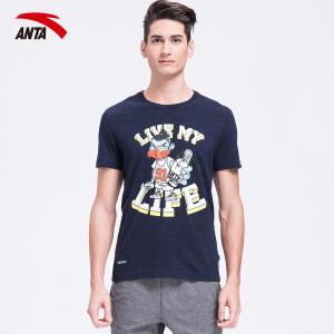 安踏短袖t恤男装夏季字母印花图案透气休闲运动上衣t恤15628176