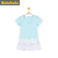 巴拉巴拉童装儿童打底衫女半袖2017夏装新款中大童女童T恤短袖T