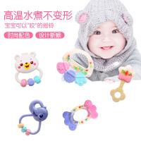 新生儿宝宝0-1岁牙胶手摇铃婴幼儿早教牙咬3-6-12个月益智玩具6件套