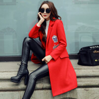 冬装新款韩版个性贴布女毛呢大衣