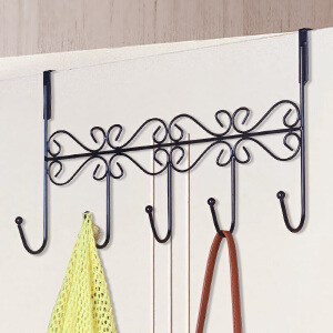 亚思特时尚简易铁艺门收纳后挂钩衣架多功能无痕挂钩架单支装门后挂1501