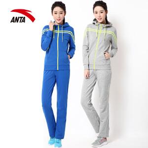 安踏运动套装女装春季简约百搭休闲运动服卫衣开衫女跑步休闲套装