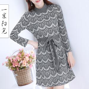 一米阳光2017春装新款韩版长袖蕾丝连衣裙针织中长款裙子