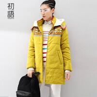 初语冬装新款女装棉衣女中长款显瘦修身连帽棉服外套女8540812807
