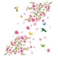 朵朵桃花创意墙贴客厅卧室墙壁贴纸墙画儿童房装饰餐厅贴花贴画纸