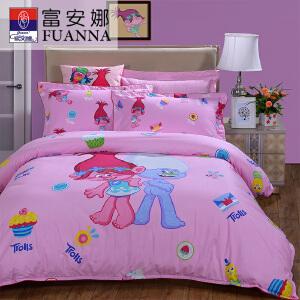 [当当自营]富安娜纯棉四件套儿童卡通套件魔发精灵Trolls授权套件精灵历险记1.5(5英尺)粉色