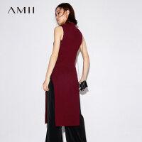 Amii[极简主义]秋装2017新纯色高领无袖高开叉针织连衣裙11793540
