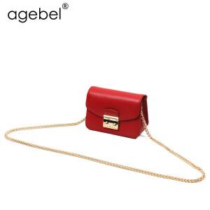 艾吉贝2017新款牛皮迷你链条包锁扣小方包单肩包小包包斜挎包女包