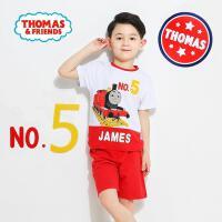 托马斯童装正版授权男童夏装新品时尚印花短袖短裤套装(三色可选)