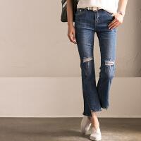 N1239A 韩版膝盖破洞不规则弹力显瘦小直筒微喇叭牛仔裤 米可可