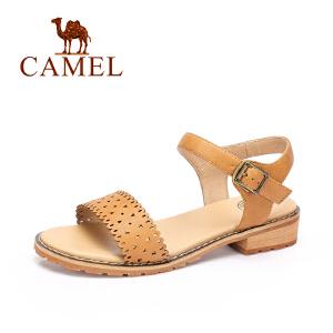 Camel/骆驼女鞋2017春夏新品时尚简约方跟女凉鞋休闲舒适镂空凉鞋